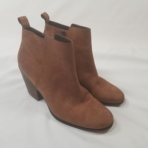 Cole Haan Chesney Cognac Brown Wood Heel Booties
